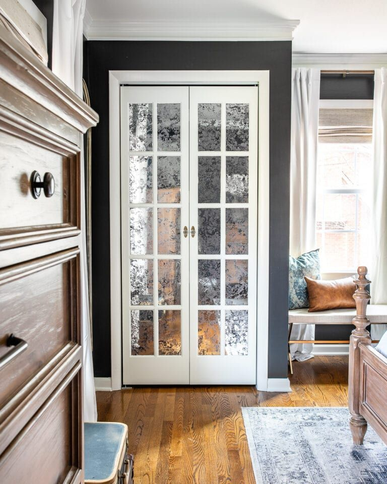 Master Bedroom Update Mirrored French Closet Doors in