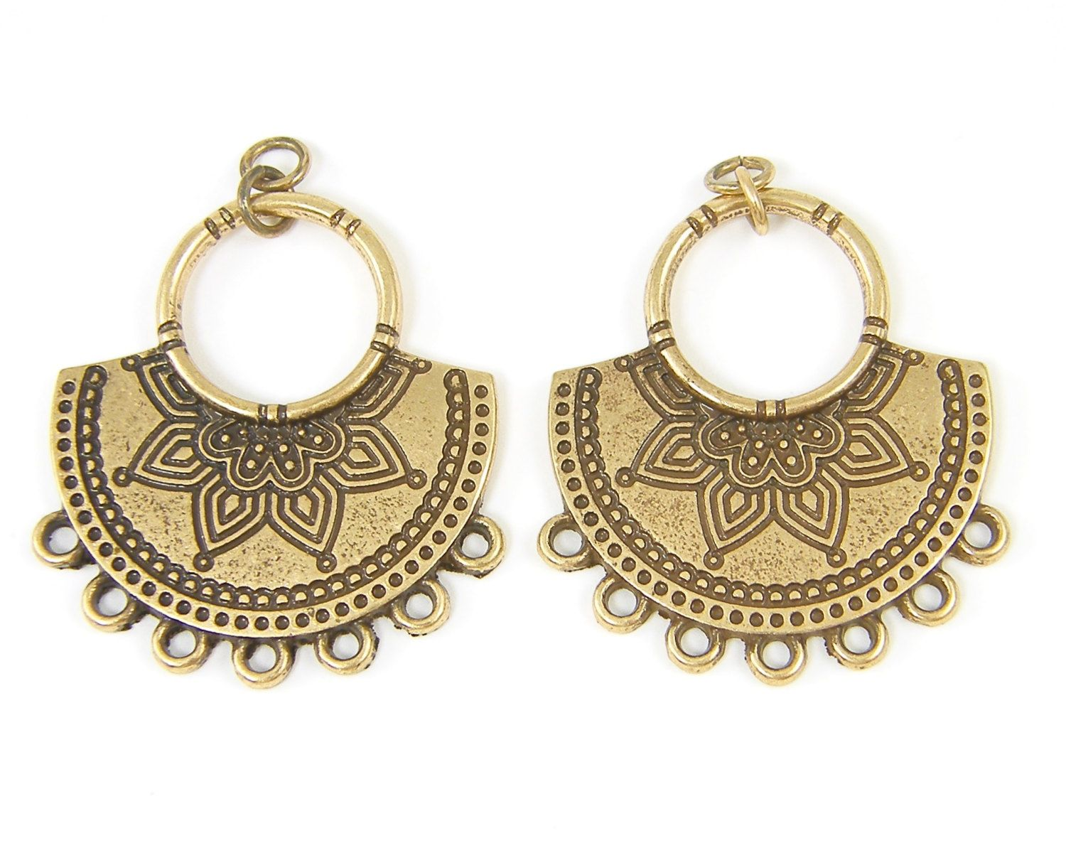 Tribal lotus blossom or mendhi antique brass chandelier earring tribal lotus blossom or mendhi antique brass chandelier earring findings tribal boho earring arubaitofo Image collections