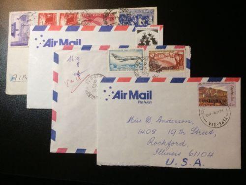 PostallyUsedAirMailLettersParAvionAustraliaItalyFrance