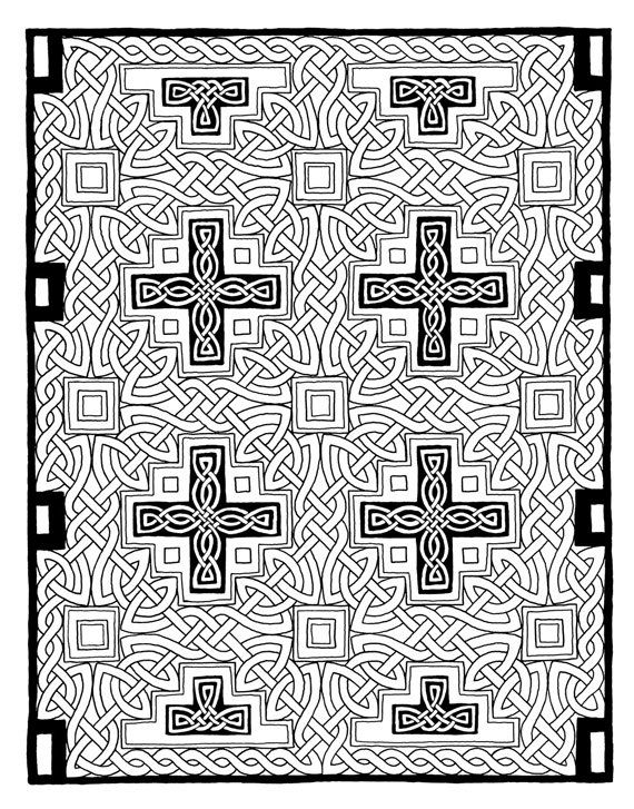 Printable Celtic Knot Coloring Page PDF Instant Download