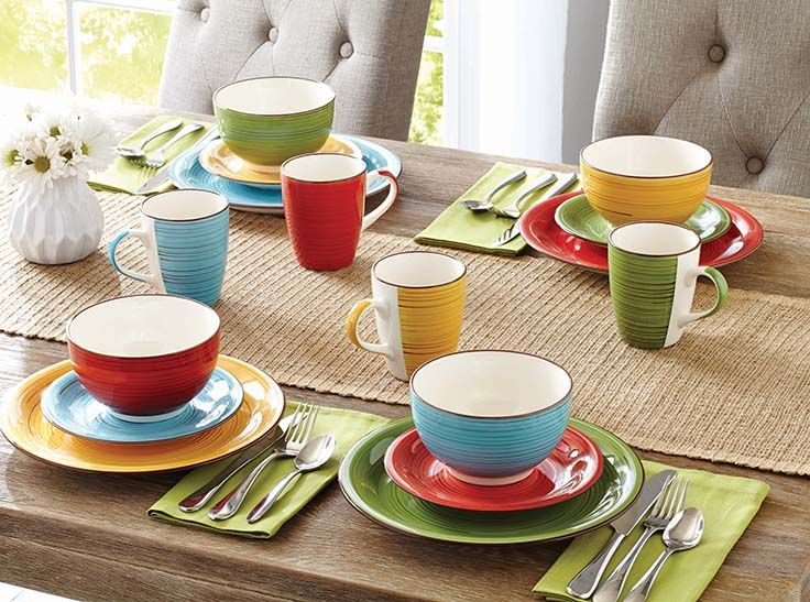 Better Homes and Gardens Festival 12-Piece Dinnerware Set Assorted : better homes and gardens dinnerware sets - pezcame.com