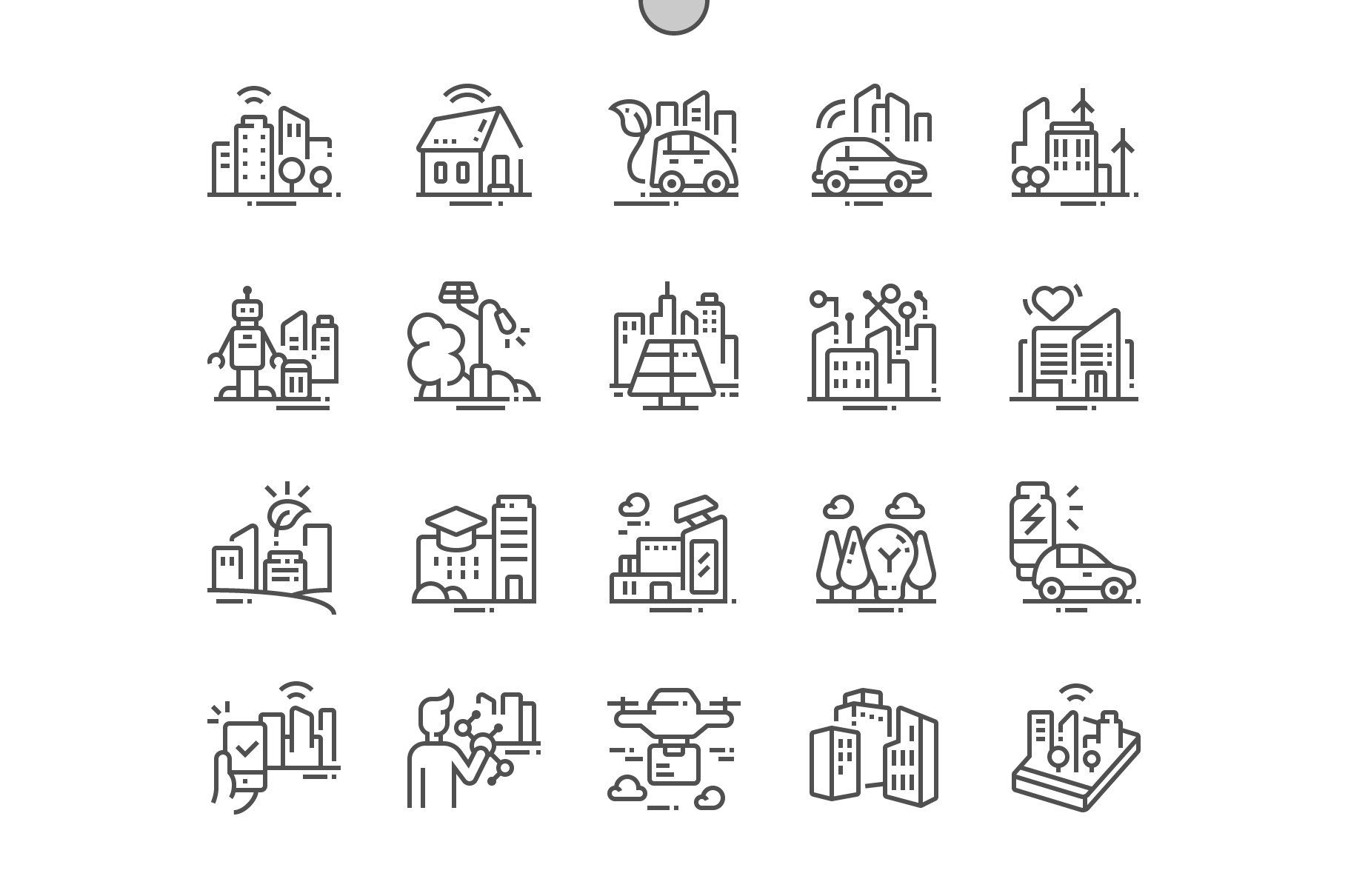 Smart City Technology Line Icons Line Icon Simple Icon Create Icon