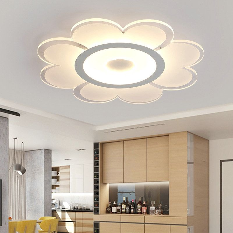 Modern Simple Led Flush Mount Flower Shape Dining Room Bedroom Lighting Ceiling Design Living Room Ceiling Design Bedroom House Ceiling Design #simple #living #room #ceiling #lights