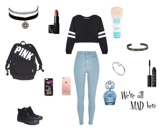 """""""We're all MAD here"""" by hanwilloughby ❤ liked on Polyvore featuring River Island, Converse, NARS Cosmetics, Maybelline, Marc Jacobs, Charlotte Russe, Cartier, Victoria's Secret and Disney"""