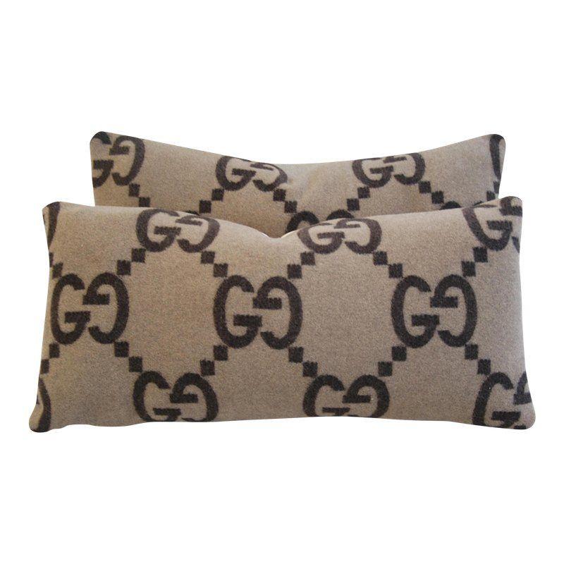 Custom Designer Gucci Cashmere Velvet Feather Down Pillows 24 X