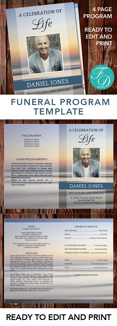 Sunset Printable Funeral program ready to edit \ print Simply - funeral template download