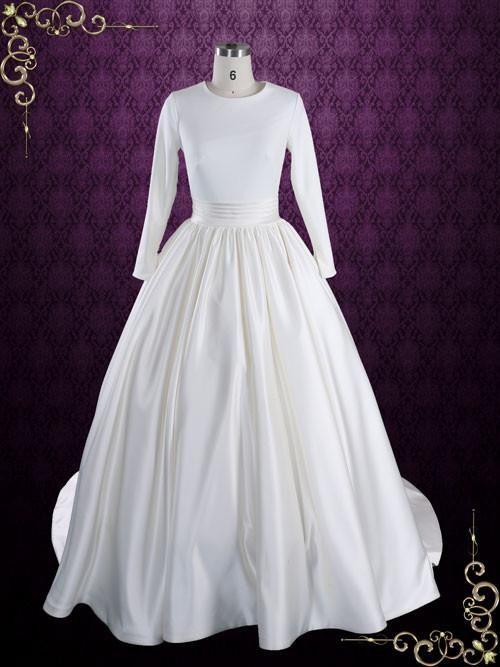 Modest Plain Ball Gown Wedding Dress with Long Sleeves | Katrine ...