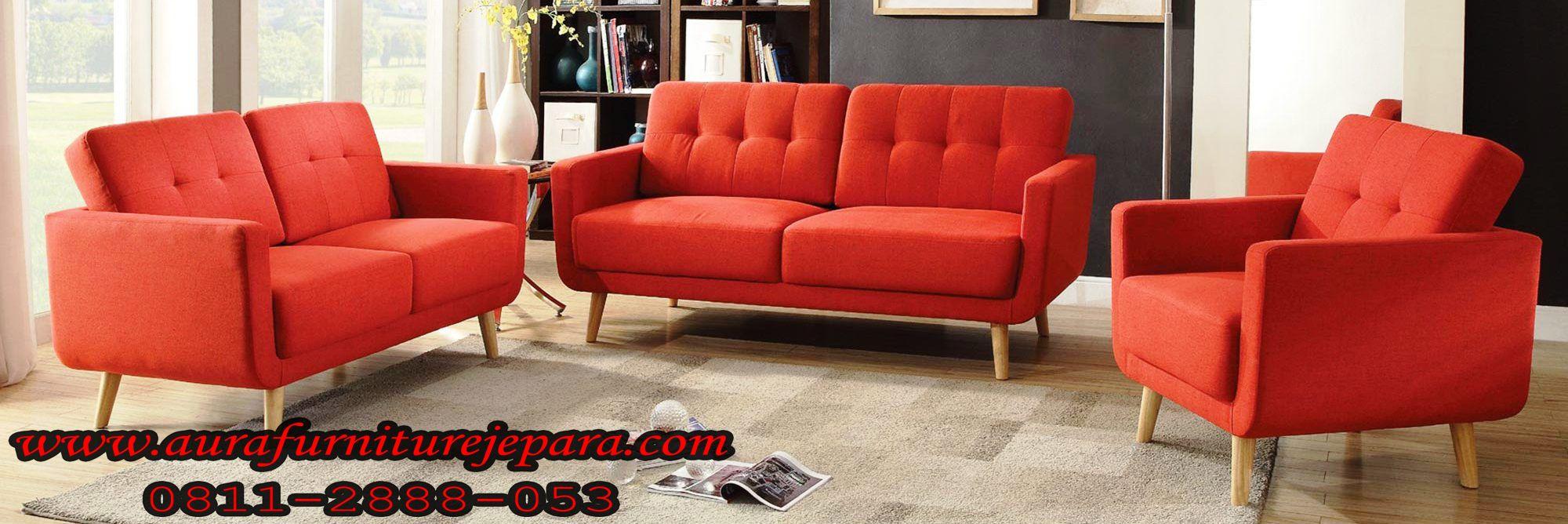 Sofa Retro Ruang Tamu Minimalis Modern Oranye Aura