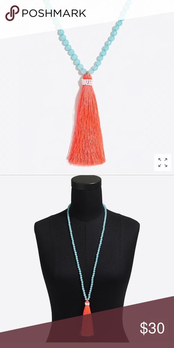 311d17c5d67fd3 NEW J. Crew Factory Neon Thread Tassel Necklace Acrylic bead, seedbead,  thread,