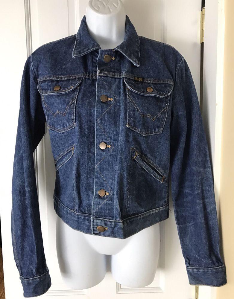 Wrangler Vintage Classic Dark Blue Jean Denim Trucker Jacket Womens Size 36 #Wrangler #JeanJacket