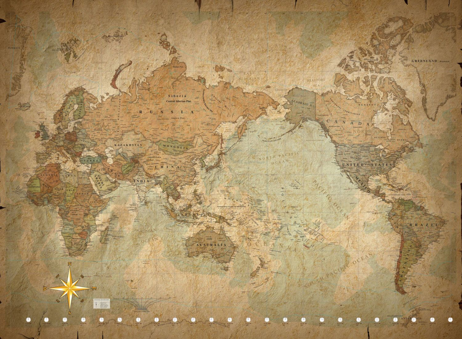 World Map Wall Art Vintage map of the world wall art - canvas or ...