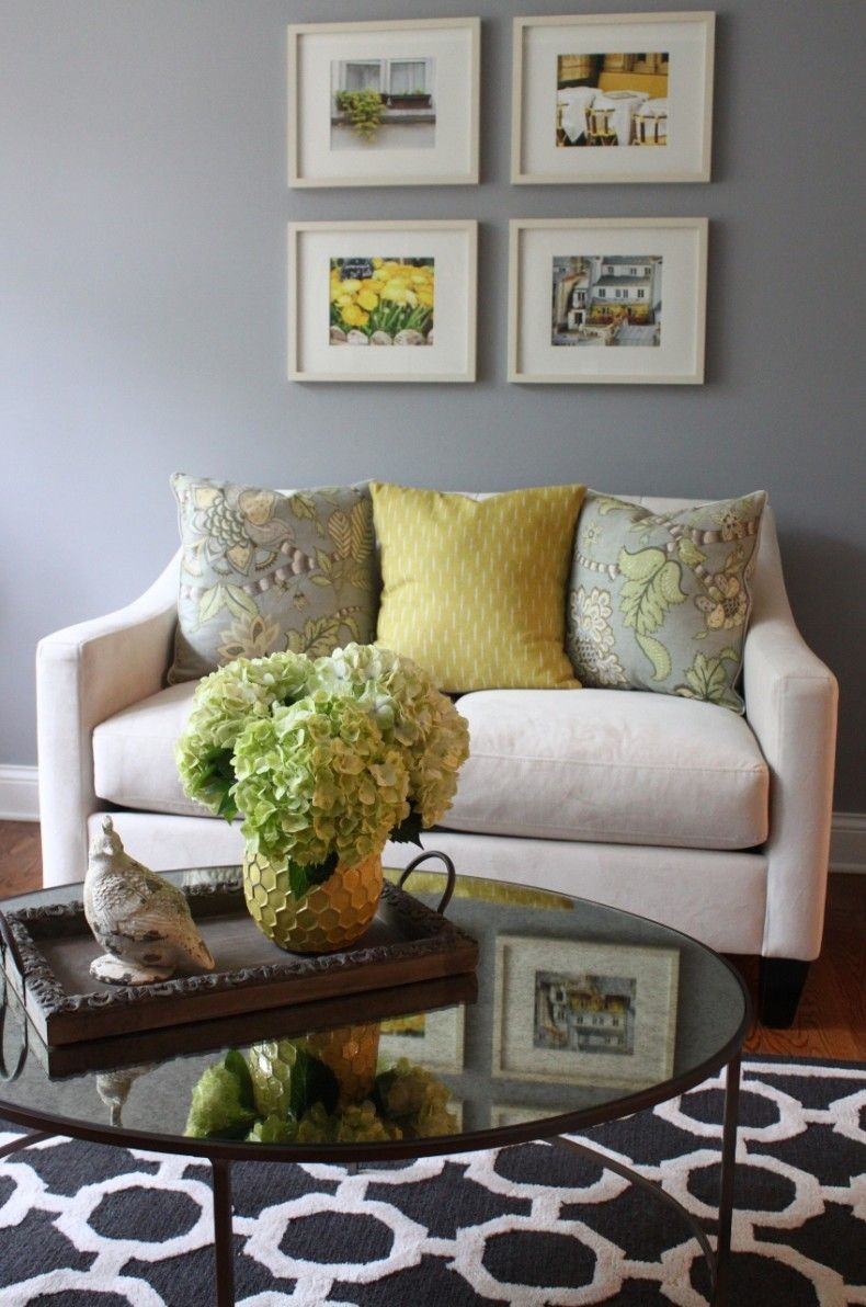 living room decoration with gray and yellow color quiet but
