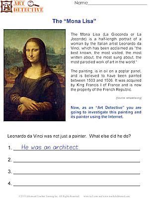 "Art Detective: The ""Mona Lisa"" | Art worksheets"