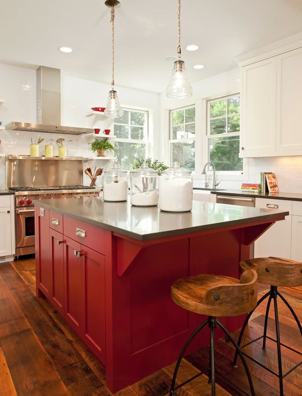 18 Ways To Use Red In The Kitchen Just A Little Bit Or A Lot Red Kitchen Island Barn Red Kitchen Red Kitchen Red kitchen island with stools