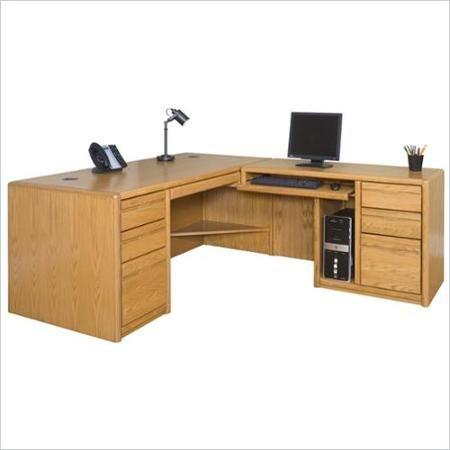 Martin Furniture Contemporary RHF L-Shaped Computer Desk in Medium Oak