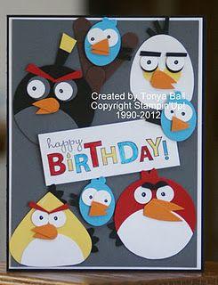 Stampin With Tonya Angry Birds Birthday Card Kids Birthday Cards Punch Art Cards Kids Cards