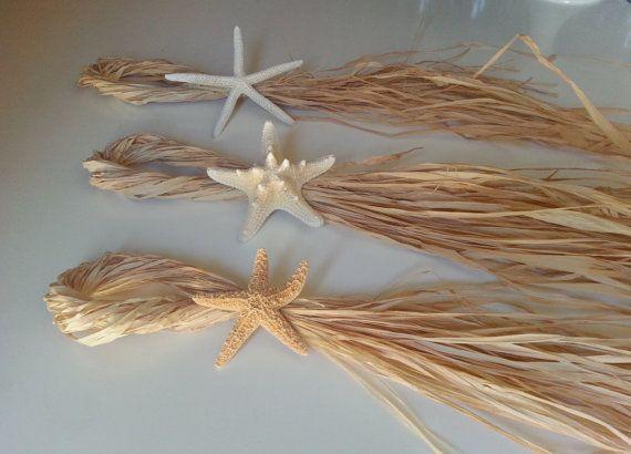 Starfish & Raffia Ceremony Chair Decoration - Beach Wedding - Ceremony Aisle