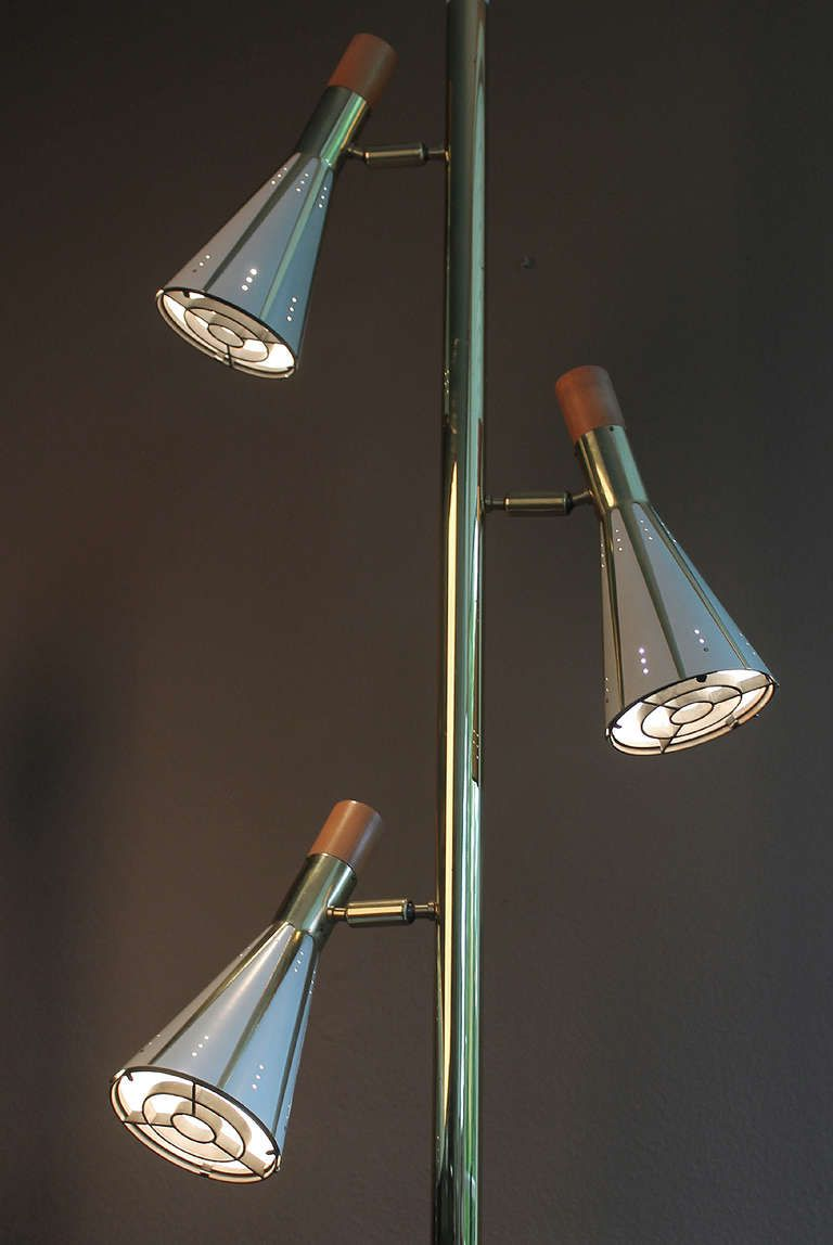 Stiffel Tension Pole Floor Lamp With 3 Lights Spots Mid Century From A Unique Collection Of Antique And Pole Lamps Floor Lamp Design Mid Century Floor Lamps