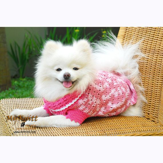 Cute Handmade Dog Dresses Pink Pets Clothes Custom Clothing Dog Couture D836 Myknitt via Etsy