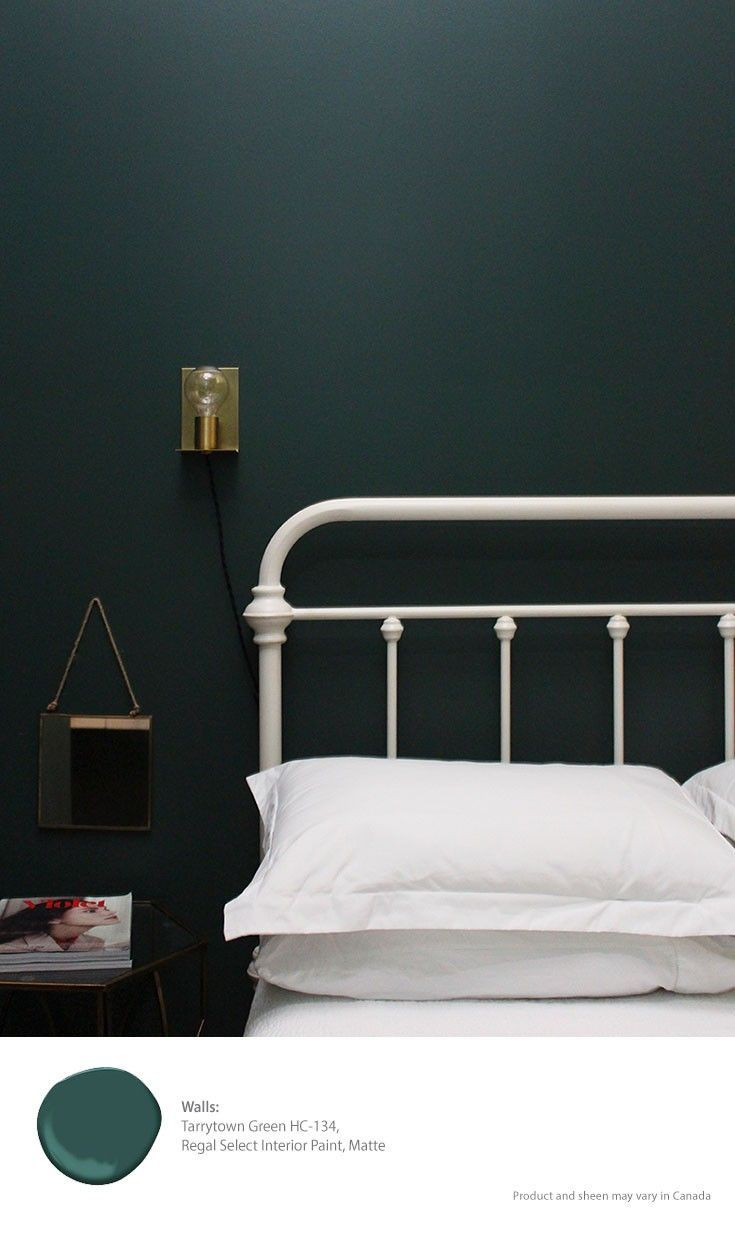 Tarrytown green paint white bed frame holmes sconce Green grey paint benjamin moore