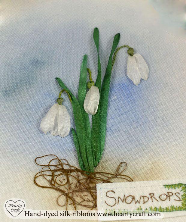 Snowdrops silk ribbon embroidery tutorial