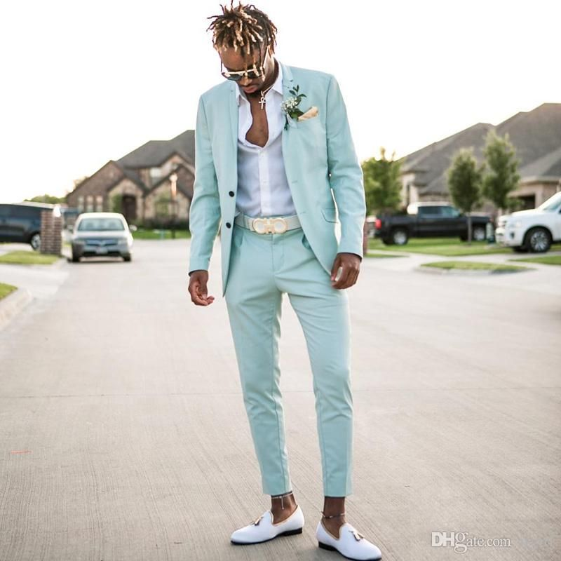 Newest Mint Green Mens Suits Slim Fit Two Pieces Beach Groomsmen Wedding Tuxedos For Men Peaked Lapel Formal Prom Suit Jacket+Pants Mens Suits Coat Pant Design Images Wedding Suits for Men Online with $124.99/Piece on Ifgirl's Store #menssuits