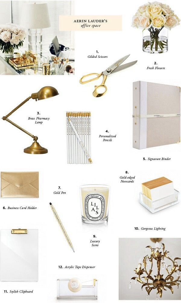 Desk Accessories Gold White And Transparent Home Office Decor Office Decor Cubicle Decor