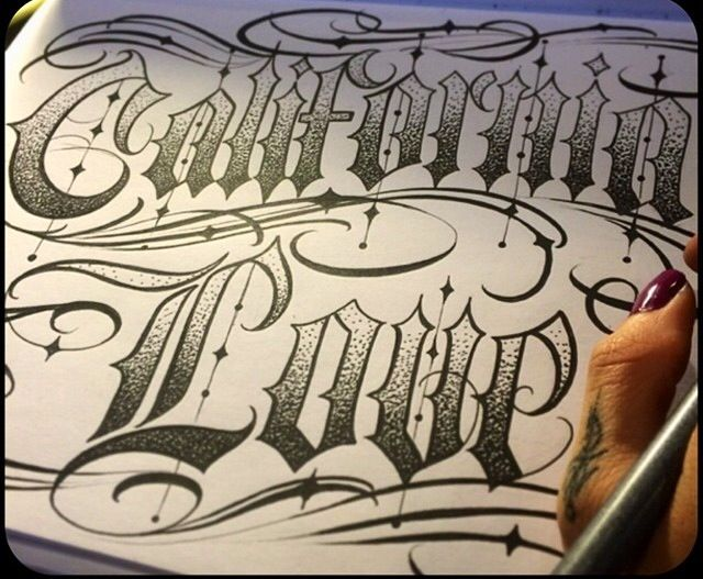 California Love Hand Lettering Fonts Tattoo Lettering
