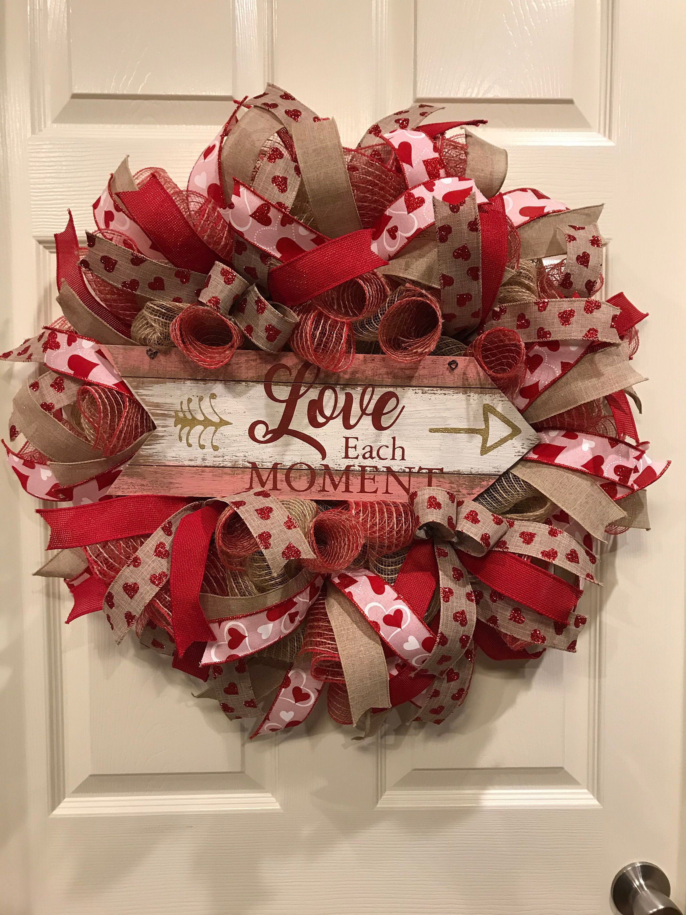 Photo of Valentine's Day wreath, love door wreath, heart wreath, red heart wreath for the front door, red Valentine's day wreath and burlap for Valentine's Day