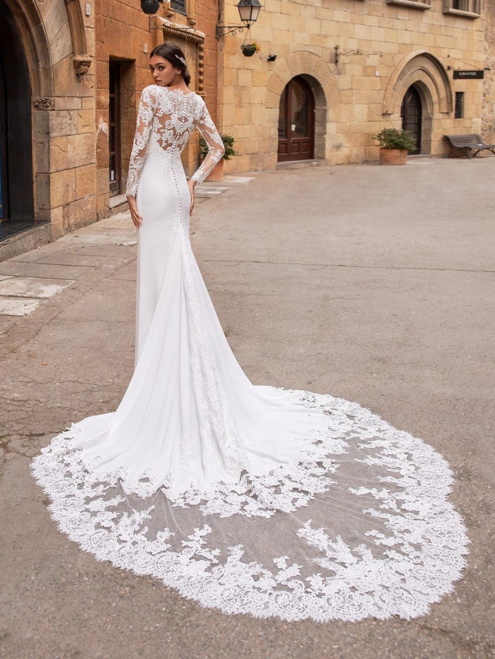 Illusion Long Sleeve V Neckline Crepe Sheath Wedding Dress Kleinfeld Bridal Long Sleeve Wedding Dress Lace Pronovias Wedding Dress Lace Wedding Dress With Sleeves [ 1333 x 1000 Pixel ]