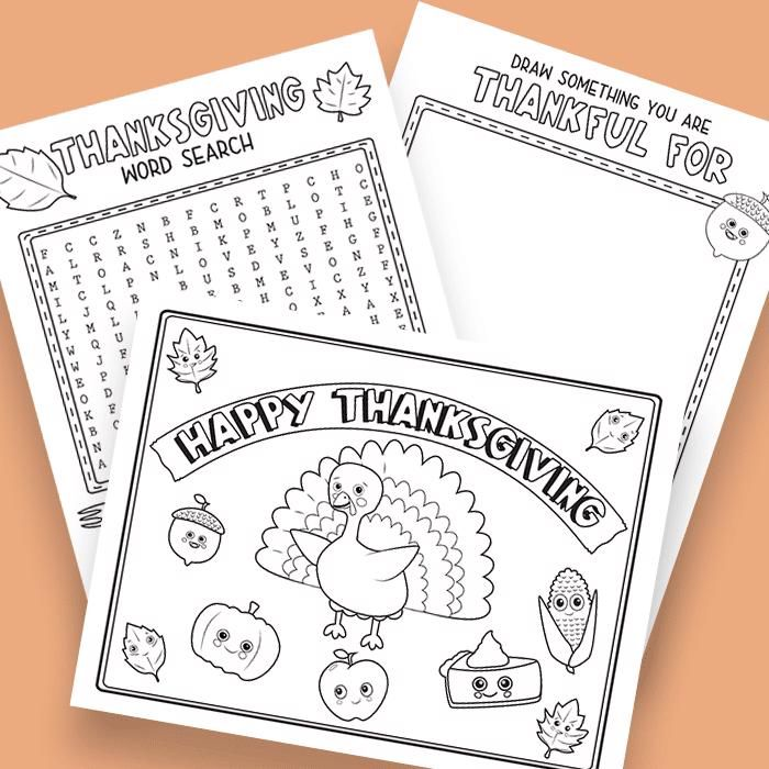 Free Thanksgiving Printables for the Kids Table