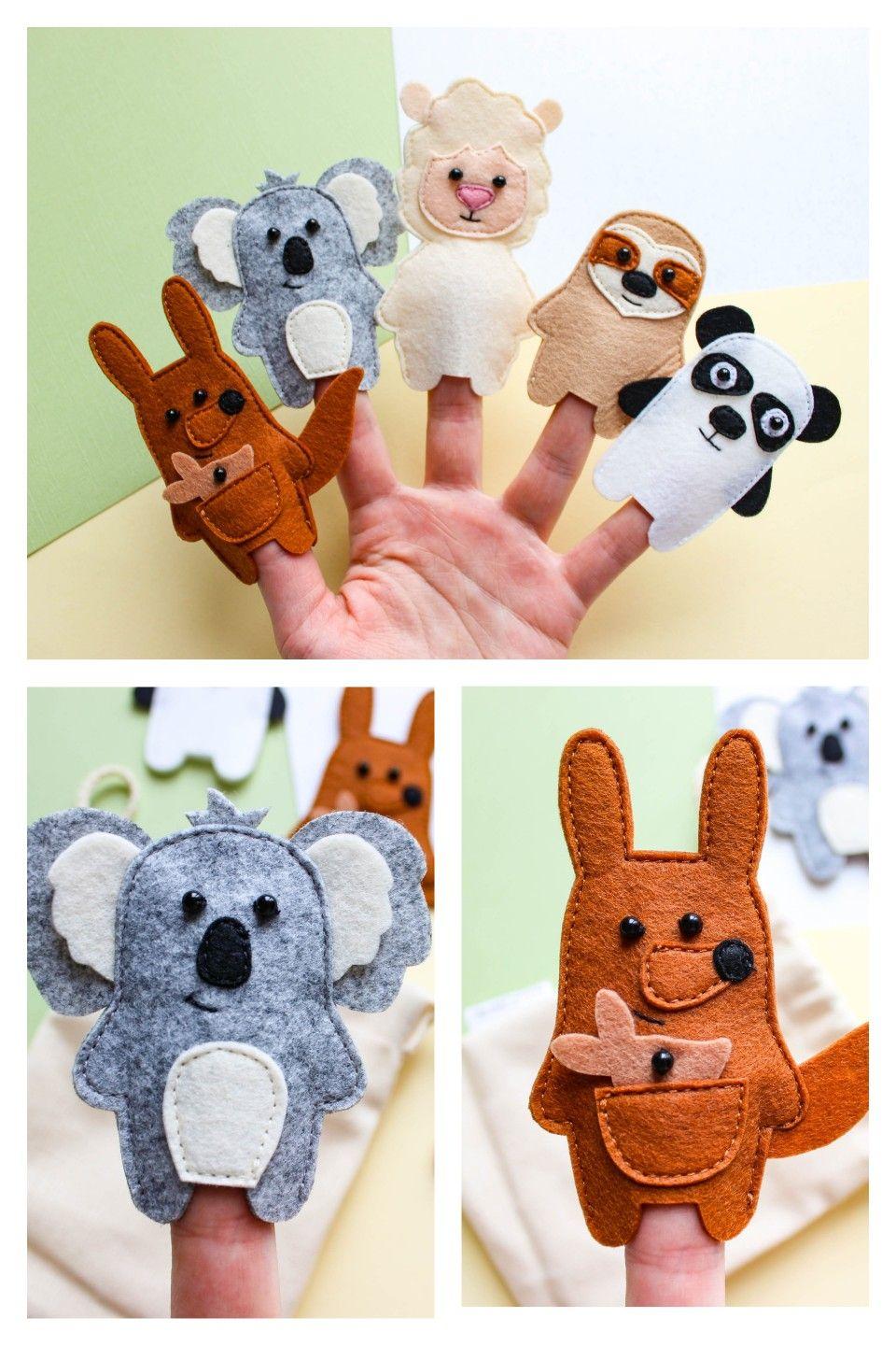 Felt Finger Puppets For Children and Babies Jungle Animal Finger Puppets Kids Felt Toys Safari Animal Finger Puppets Set