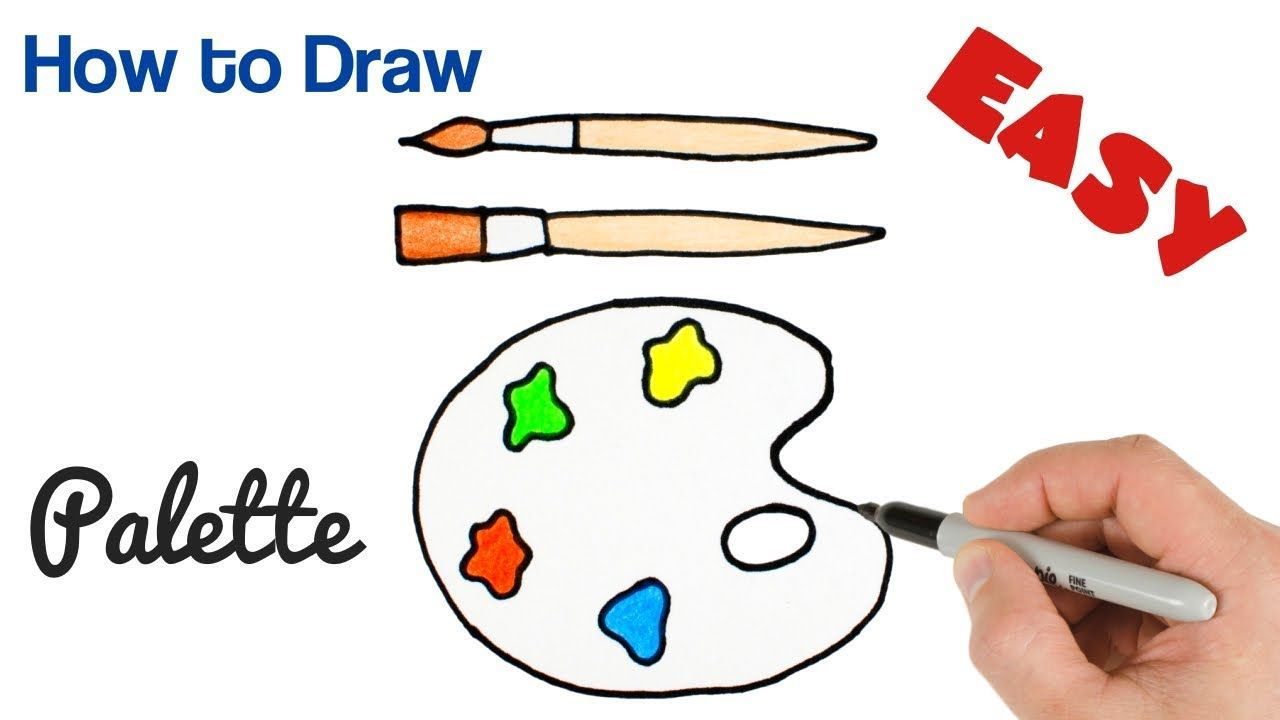 How To Draw Paint Palette Art Supplies Drawing For Kids Art Supplies Drawing Drawing For Kids Palette Art