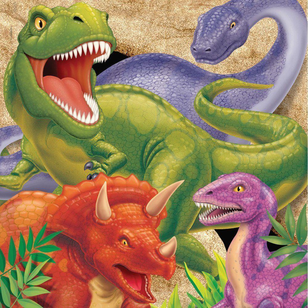 dinosaurierservietten mit trex langhals triceratops und