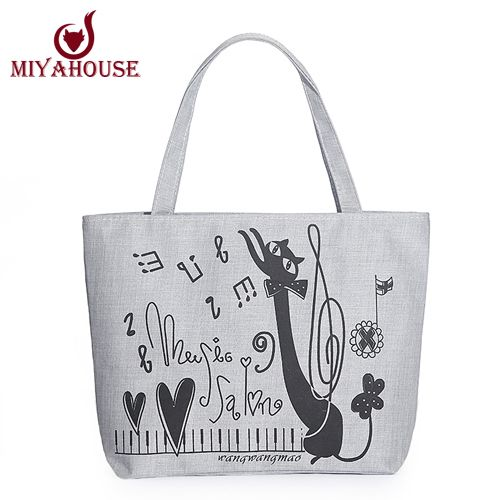80d103b61f7b canvas art black white Picture - More Detailed Picture about Miyahouse Women  Canvas Handbag Character Cat Printed Shoulder Handbag Female Large Capacity  ...