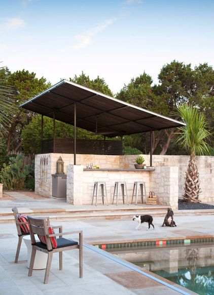 Solar Panels As A Roof Over The Outdoor Kitchen And Pool Storage Area Outdoor Kitchen Design Outdoor Kitchen Design Layout Patio Design