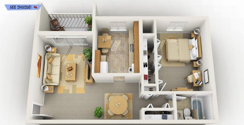 1 Bedroom Flat Interior Design Best 1 Bedroom Student Apartments  Floor Plans  Pinterest  Student Inspiration Design