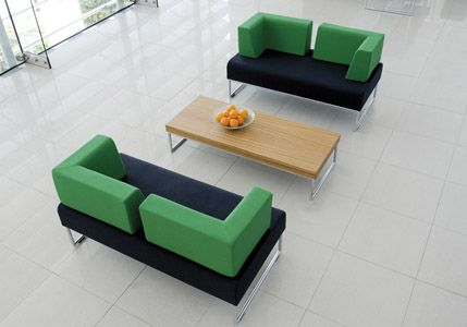 Rectangular Black And Green Reception Area Couches