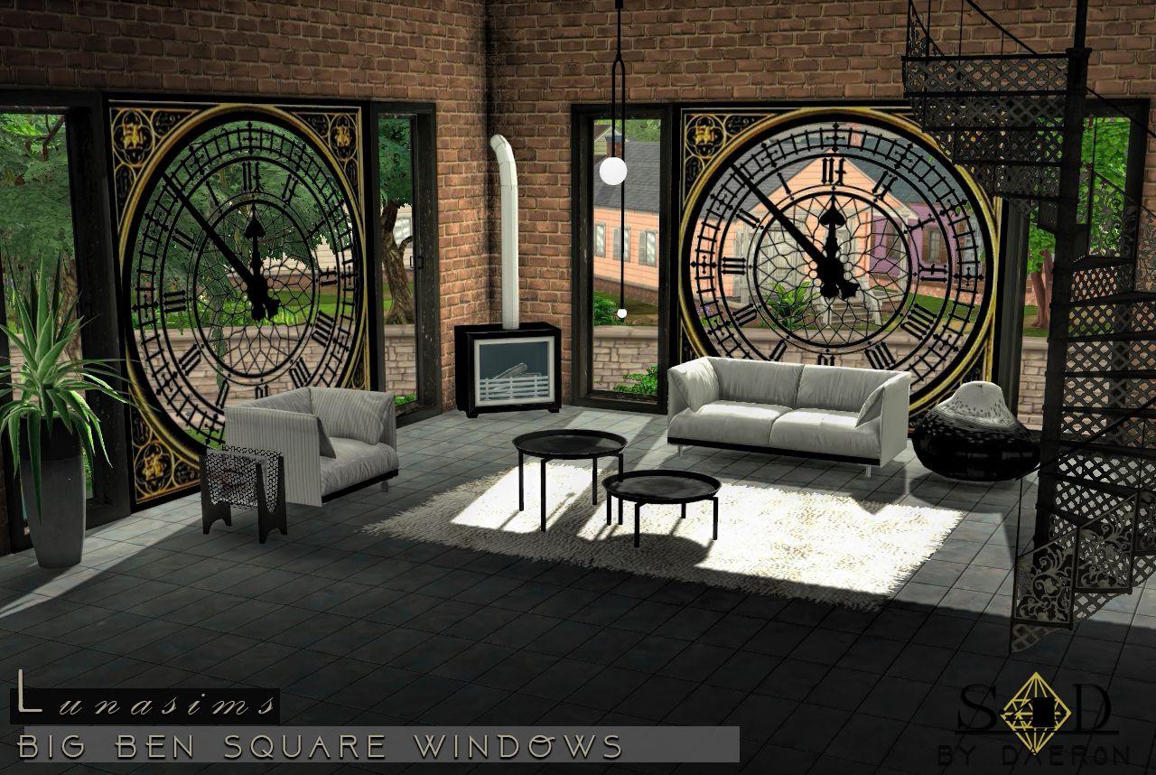 3t4 Lunasims Big Ben Windows | Sims 4 Designs