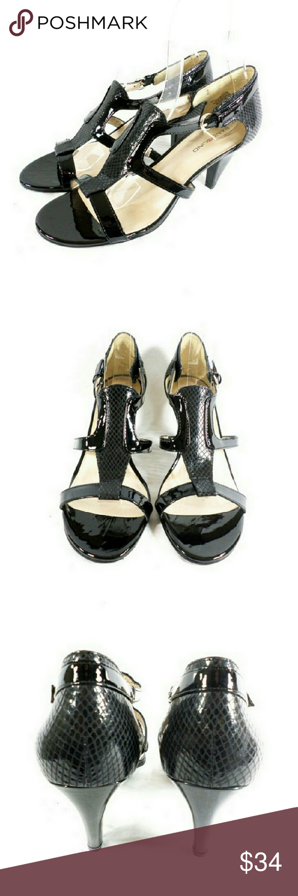 """Bandolino Dacia Black Dress Sandals Thanks for checking out my closet. I take all my own pics. The shoes are authentic and new in box. The shoes have man made upper with 3.5"""" heel. Bandolino Shoes Sandals"""