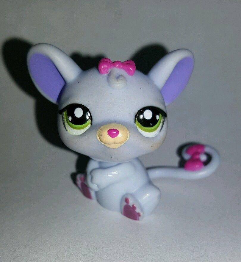 Littlest Pet Shop Purple Mouse Pink Bow Green Eyes 1560 Preowned Lps Littlest Pet Shop Pet Shop Pink Bow