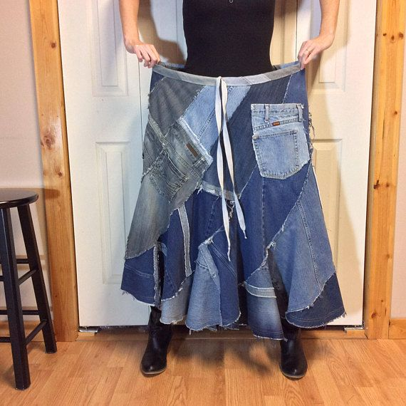74246ad3ac ... maxi skirt is handmade from several pairs of recycled blue jeans in  many shades of blue. One of a kind patchwork denim skirt blend…