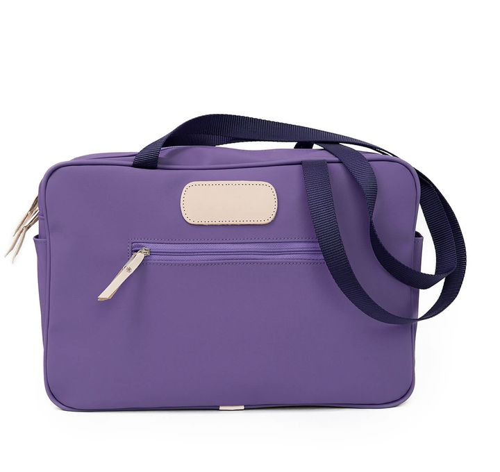 Jon Hart Diaper Bag Shown In Purple Coated Canvas
