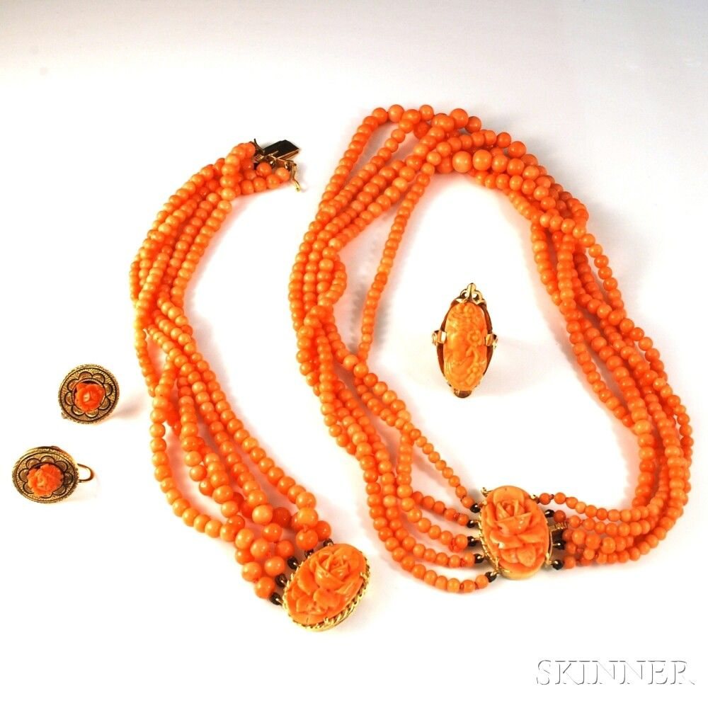 Group of Carved Coral and Coral Bead Jewelry   Sale Number 2733T, Lot Number 1243   Skinner Auctioneers