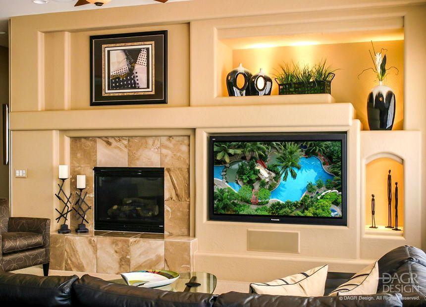 Custom Drywall Media Wall With Large Flat Screen TV, Custom Art ...