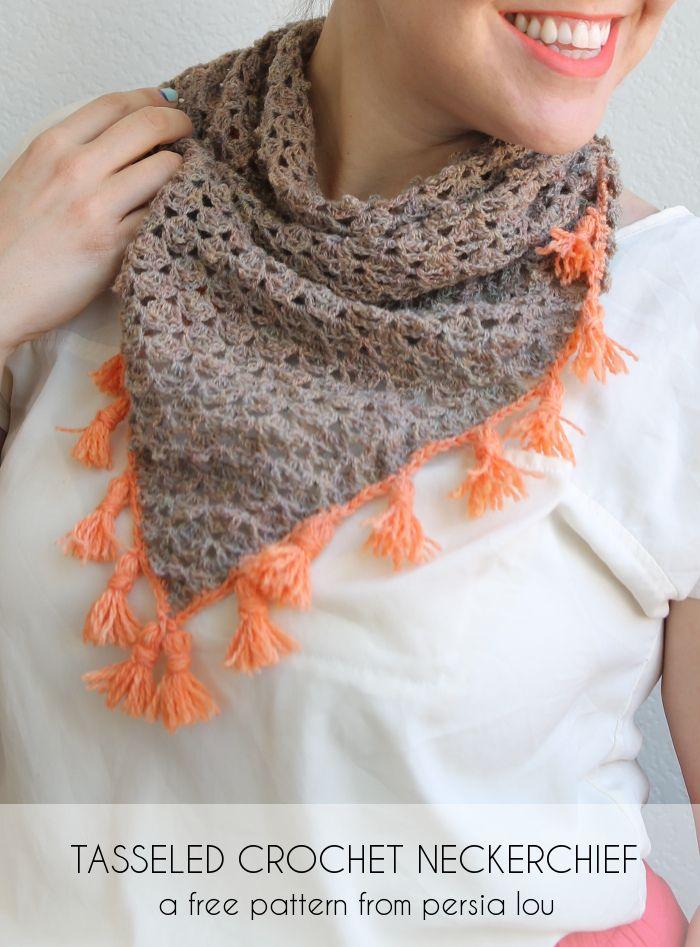 Tasseled Crochet Neckerchief Pattern | Bufanda cuello, Ganchillo y Chal