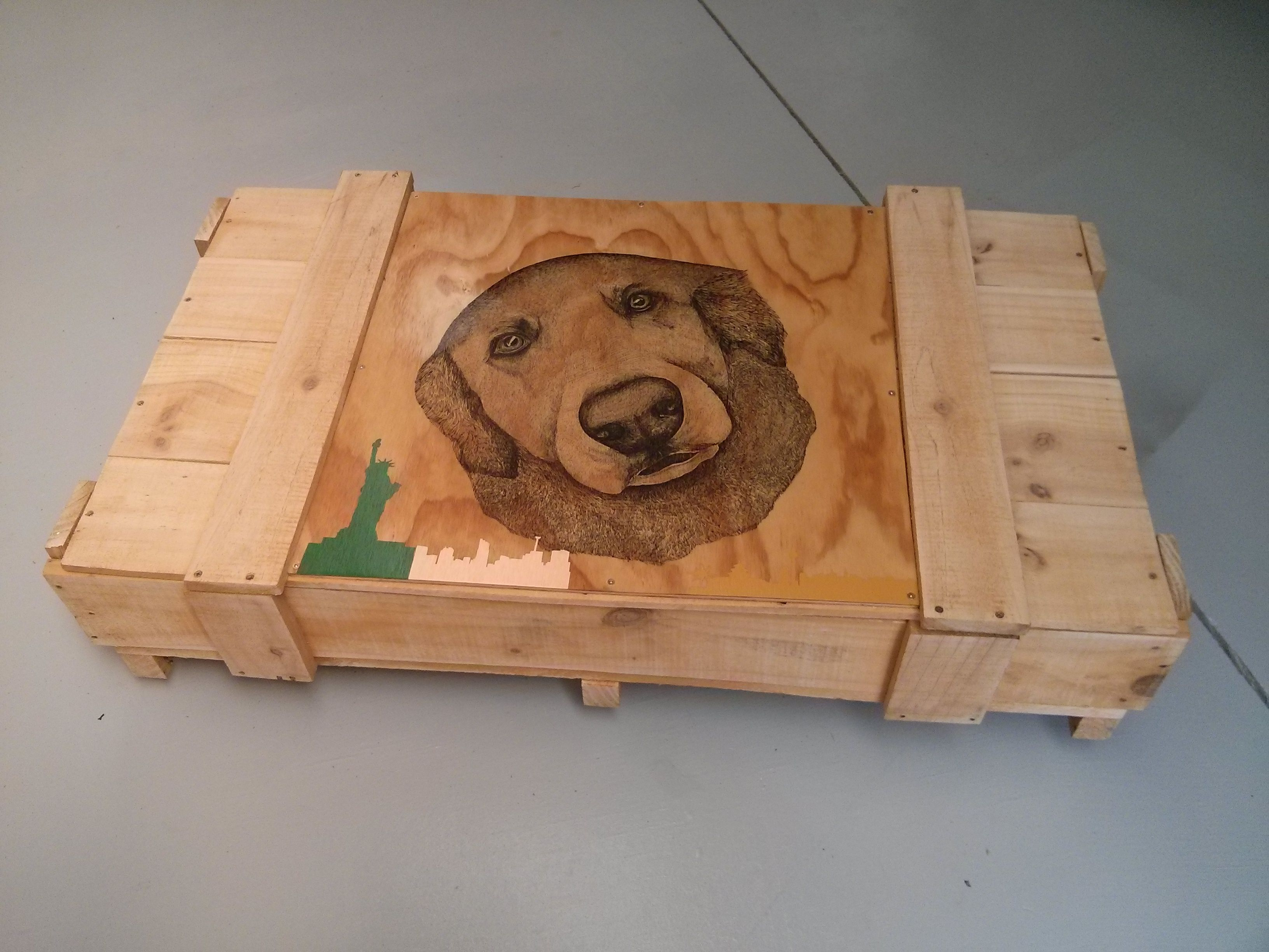 Recycled labrador table on castor wheels. www.featuredcreatures.co.nz