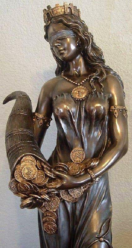 Documenta Venda Y Ojos Cubiertos Diosa De La Fortuna Arte En Bronce Esculturas De Arte