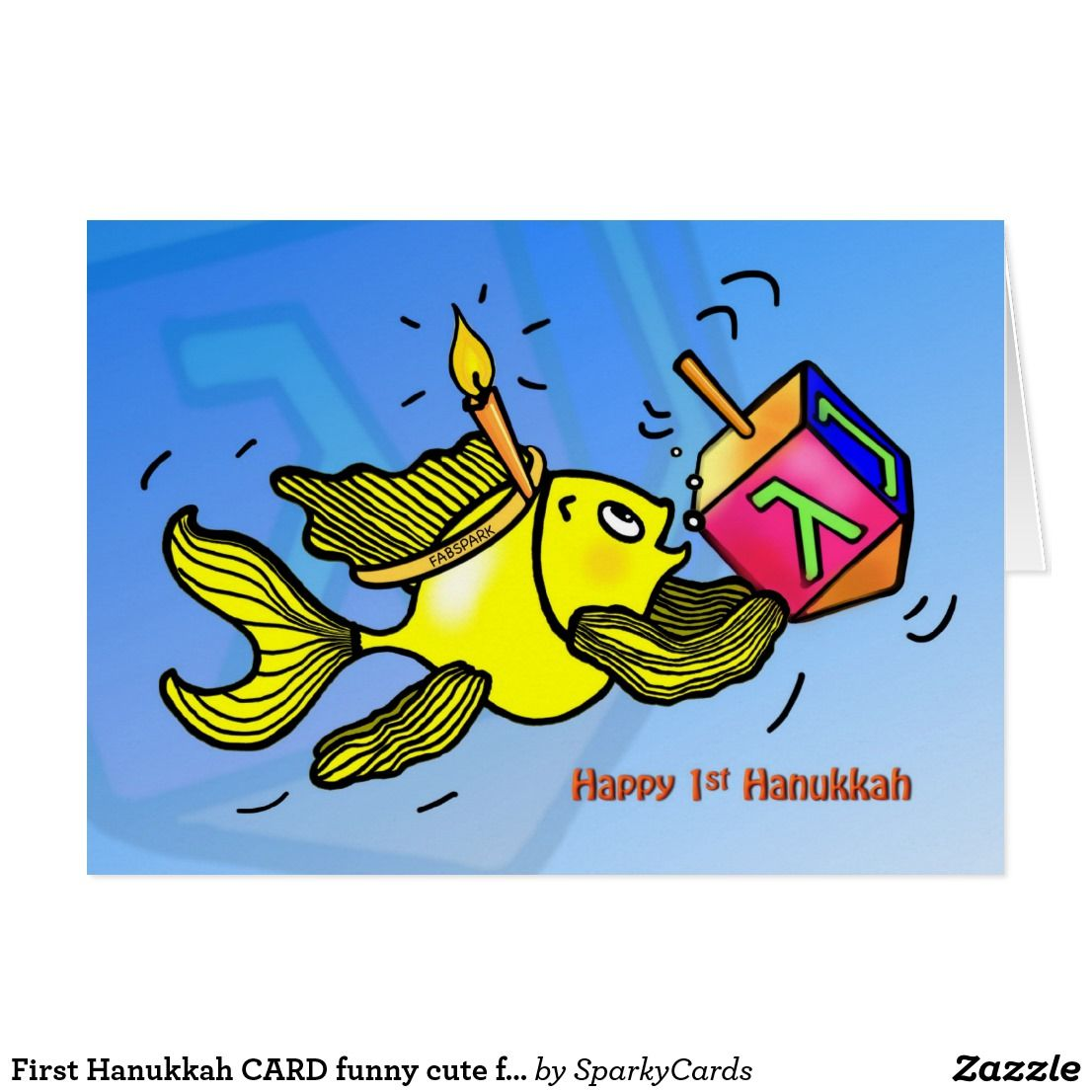 First hanukkah card funny cute fish with dreidel funny greeting first hanukkah card funny cute fish with dreidel kristyandbryce Choice Image