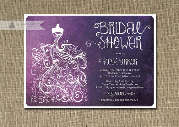 plum ombre bridal shower invitation purple  white gown shabby, invitation samples